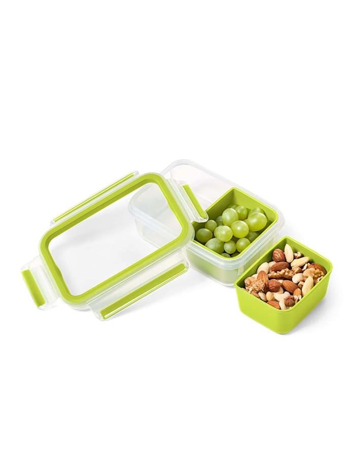 EMSA Snackbox mit 2 Einsätzen Clip   Go, Grün