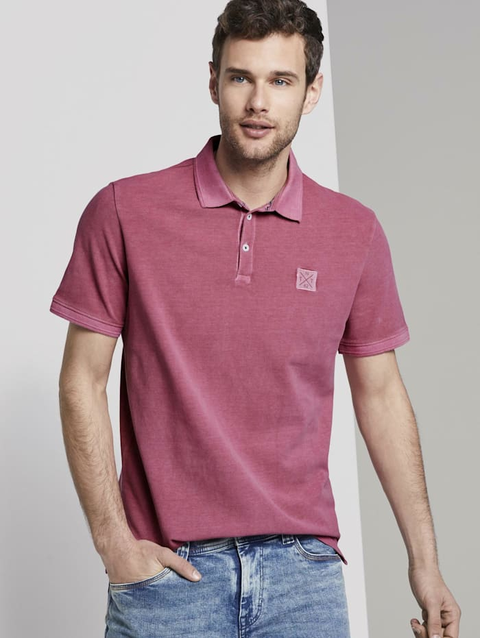 Tom Tailor Poloshirt mit Logo-Patch, wine rose pink