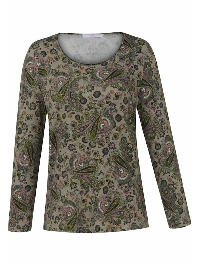Emilia Lay Langarmshirt Shirt mit Rundhals-Ausschnitt ., grün/multicolor.