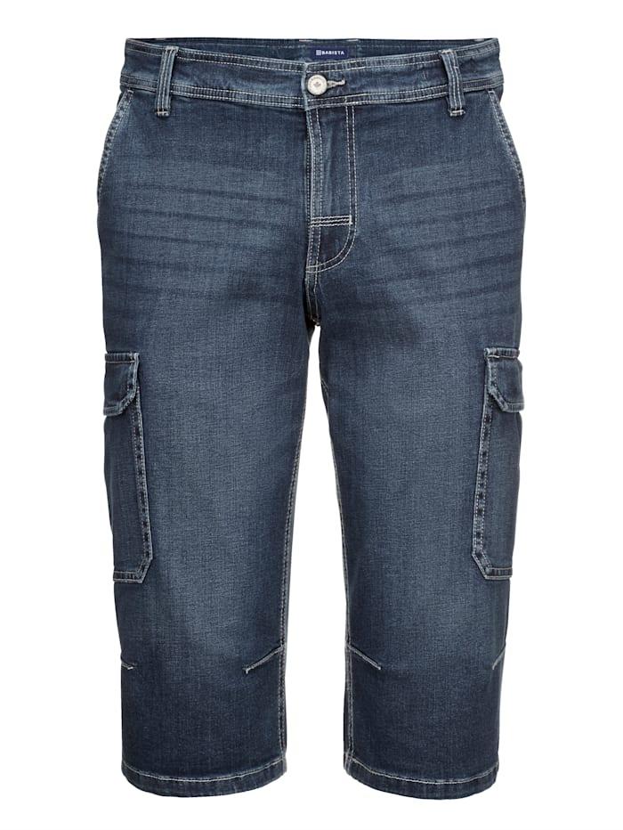 Long-Jeansbermuda mit Cargotaschen
