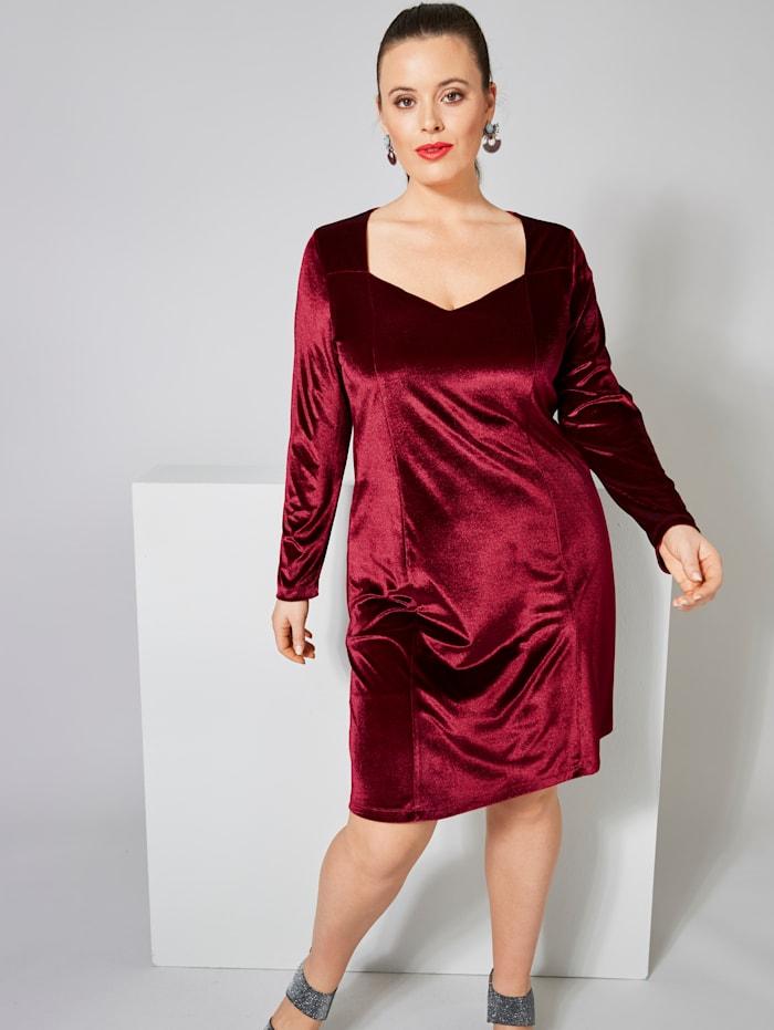Sara Lindholm Samt-Kleid, Rot