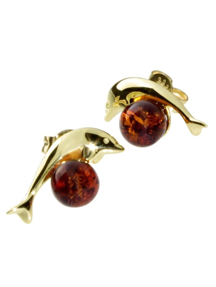 OSTSEE-SCHMUCK Ohrstecker Delphin Gold 333/000 Bernstein, gold