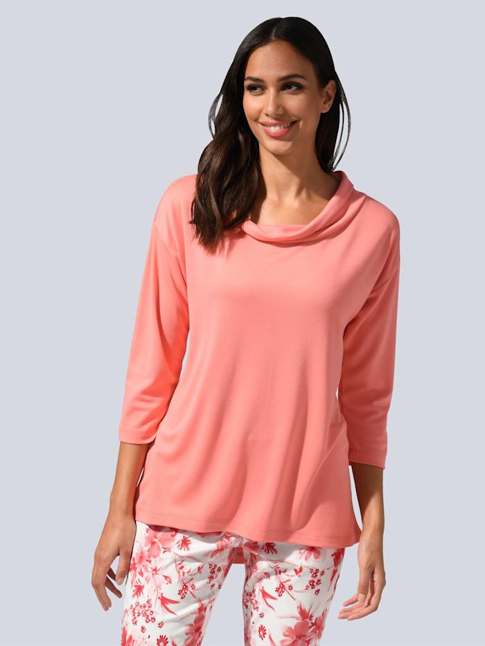 Alba Moda Tričko s ležatým límcem, Korálová