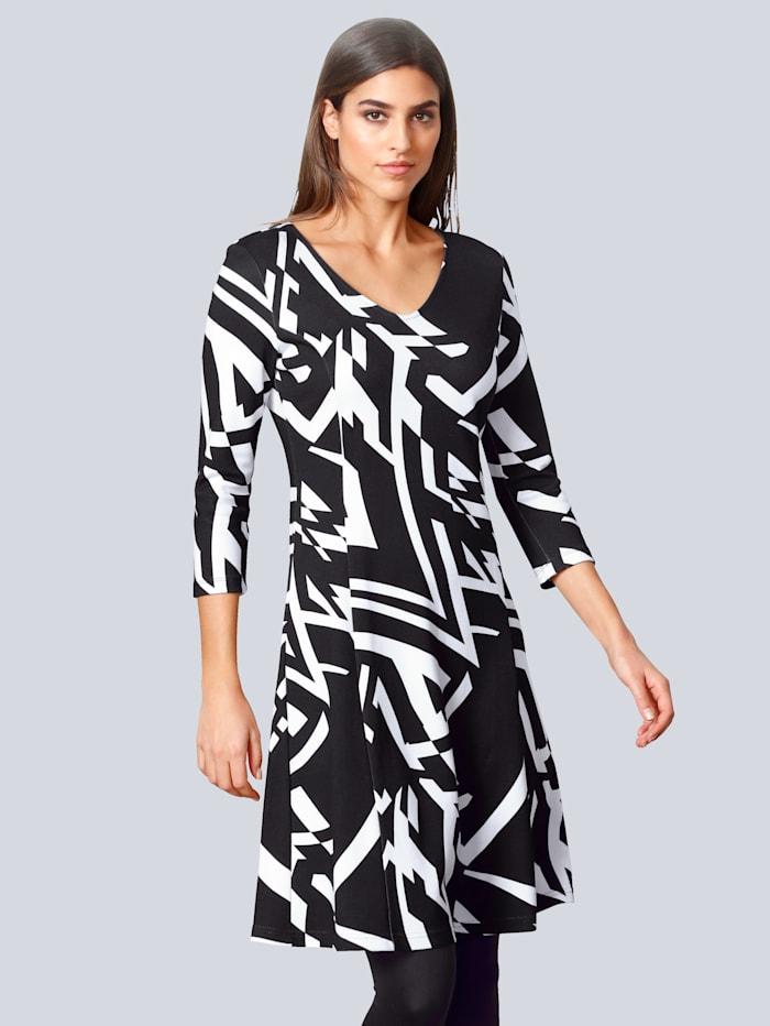 Alba Moda Kleid mit leicht ausgestelltem Rockteil, Schwarz/Weiß