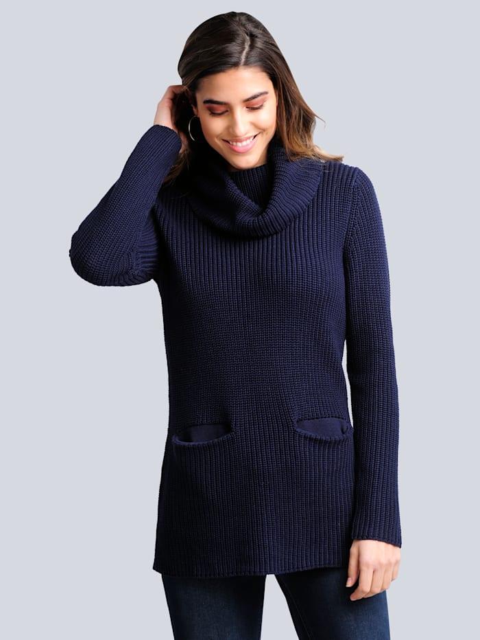Alba Moda Rollkragenpullover mit zwei aufgesetzten Taschen, Marineblau