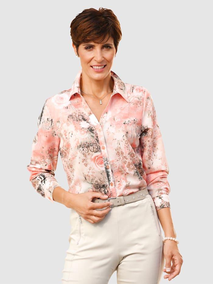Paola Hemdbluse mit floralem Druck, Pfirsich