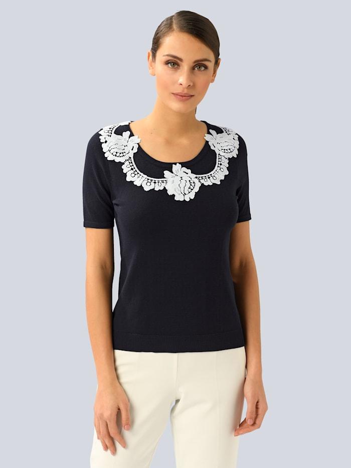 Alba Moda Pullover mit applizierter Spitze, Marineblau/Weiß