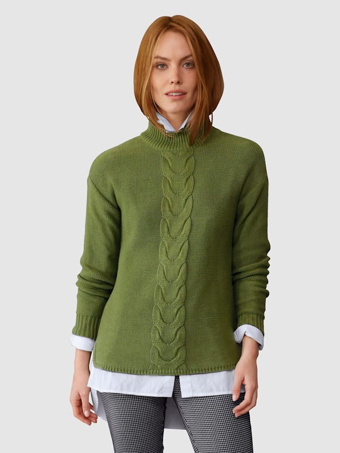 Laura Kent Pullover mit Zopfmuster, Grün