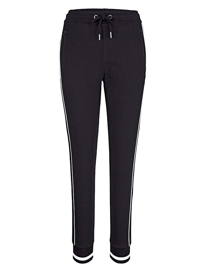 Harmony Pantalon de loisirs avec passepoil contrastant d'esprit sport, Noir/Blanc