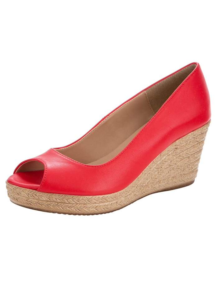 Peep toe Wedge court shoes made of high-quality napa leather