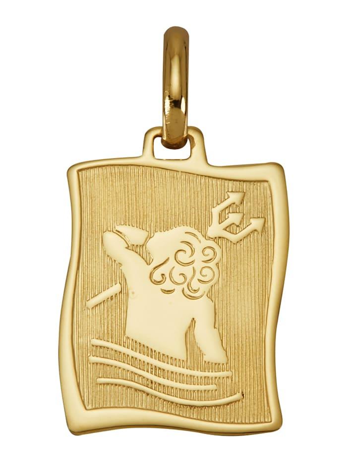 Diemer Gold Sternzeichen-Anhänger 'Wassermann' in Gelbgold 585, Gelbgoldfarben