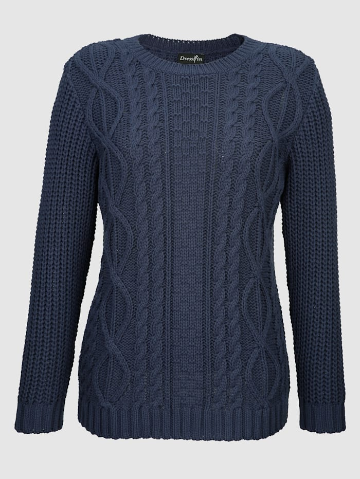 Dress In Pullover mit Zopfmuster, Marineblau
