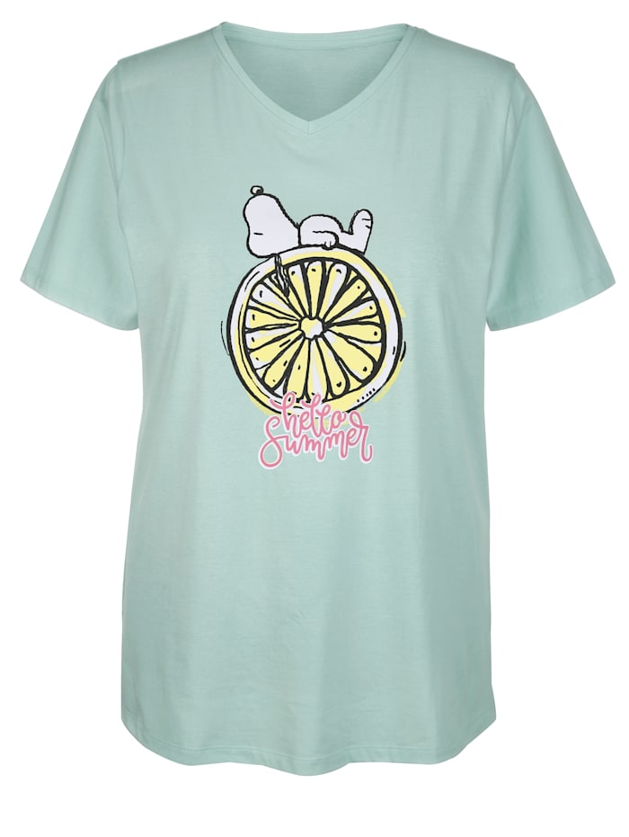 Angel of Style Topp med Snoopy-motiv, Mint/Gul