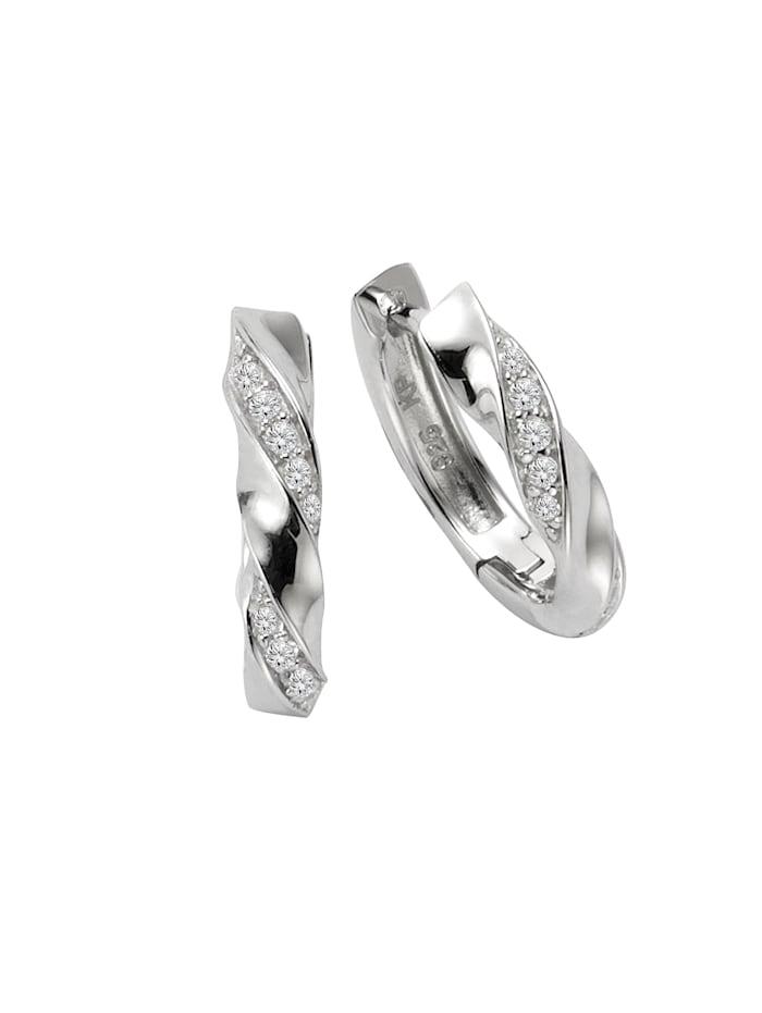 ZEEme Creolen 925/- Sterling Silber Zirkonia weiß 1,5cm Glänzend 925/- Sterling Silber, weiß