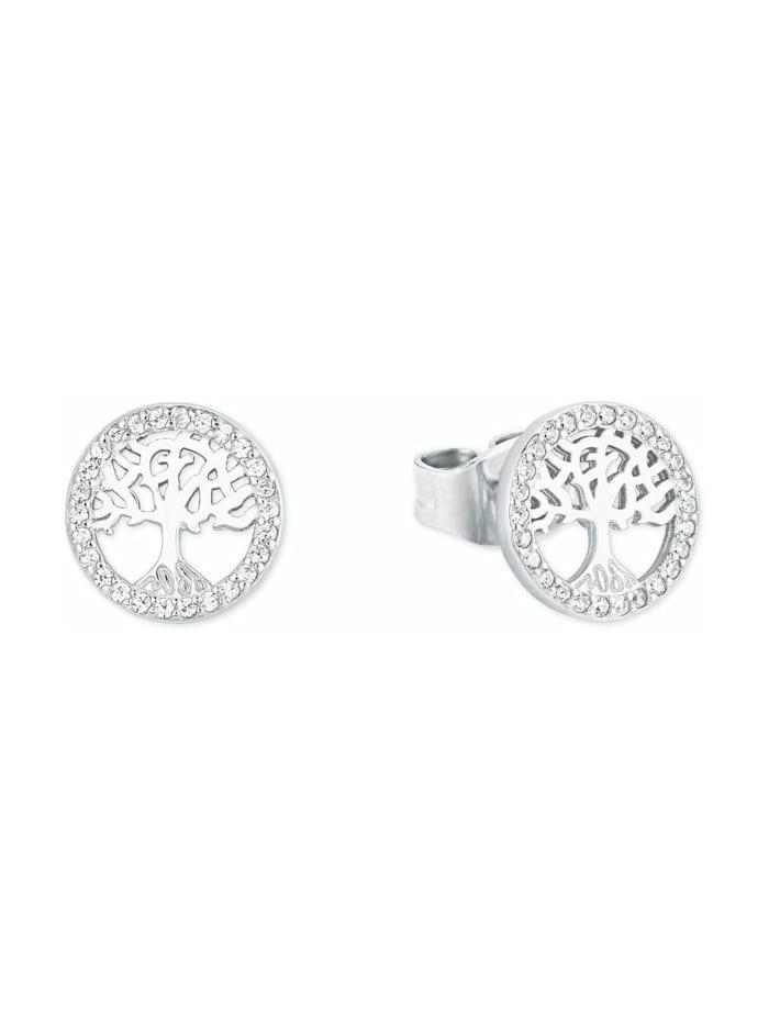 amor Ohrstecker für Damen, Sterling Silber 925, Zirkonia Lebensbaum, Silber