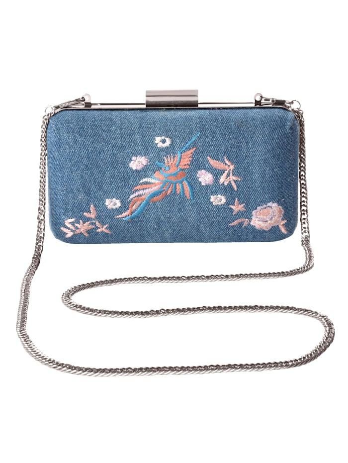 Gennia Handbag embroidered, jeansblue/rose