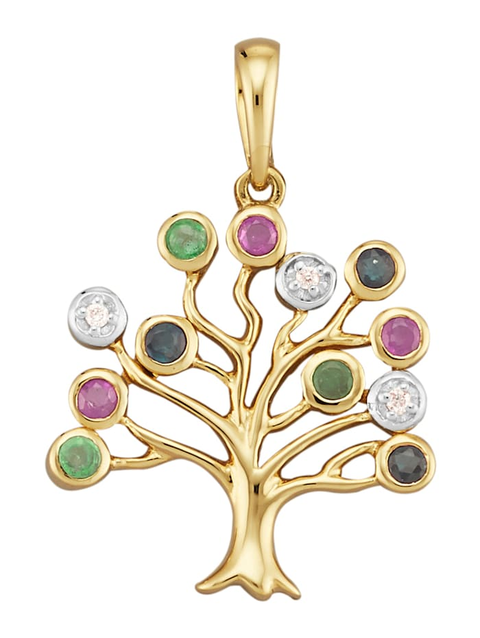 Amara Pierres colorées Pendentif Arbre de Vie à pierres de couleur et diamants, Multicolore