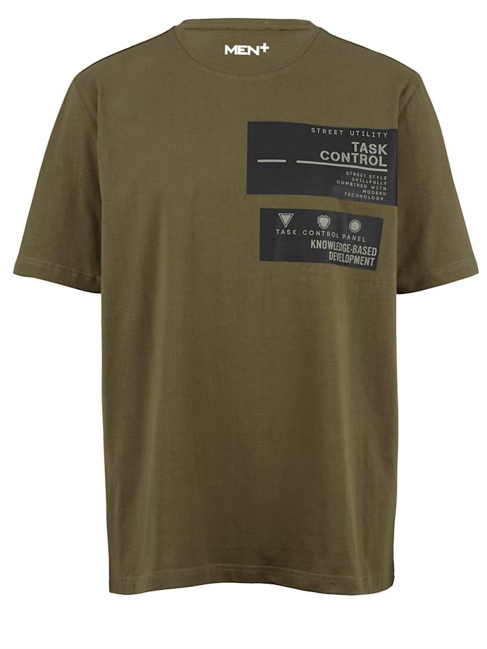 Men Plus T-shirt i snabbtorkande material, Gråbrun