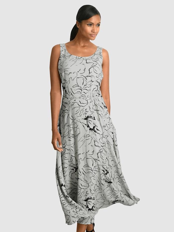 Alba Moda Kleid mit floralem Dessin allover, Grau/Schwarz