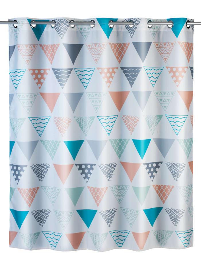 Wenko Anti-Schimmel Duschvorhang Ethno Flex, Textil (Polyester), 180 x 200 cm, waschbar, Mehrfarbig