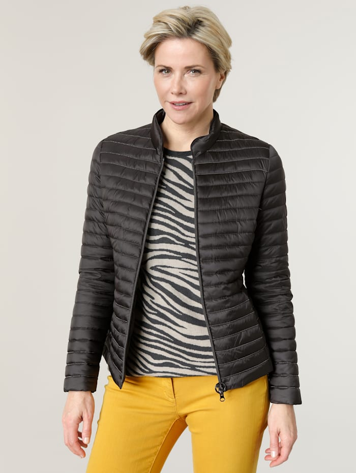 Barbara Lebek Quilted jacket with silver-tone beading, Grey