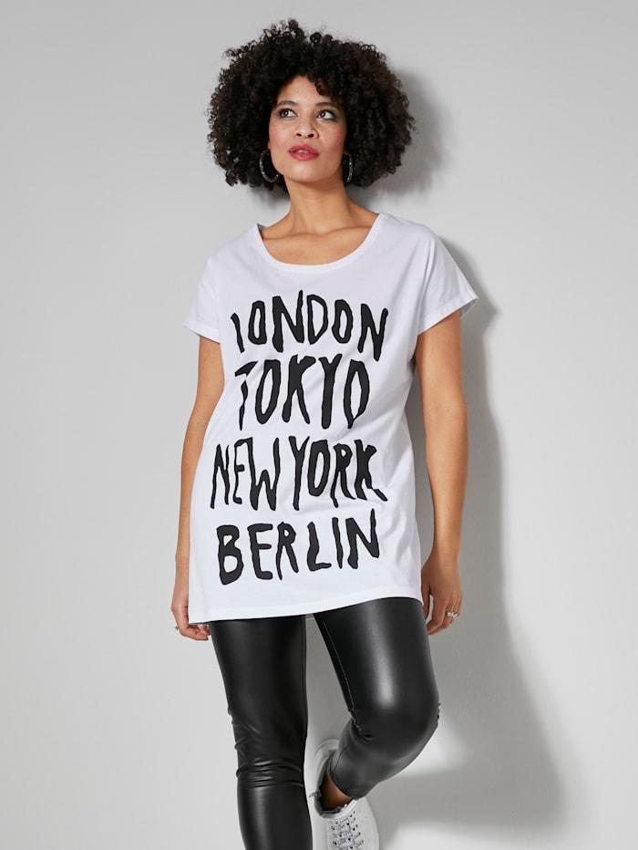 Angel of Style Longshirt mit Schriftzug Prints, Weiß/Schwarz