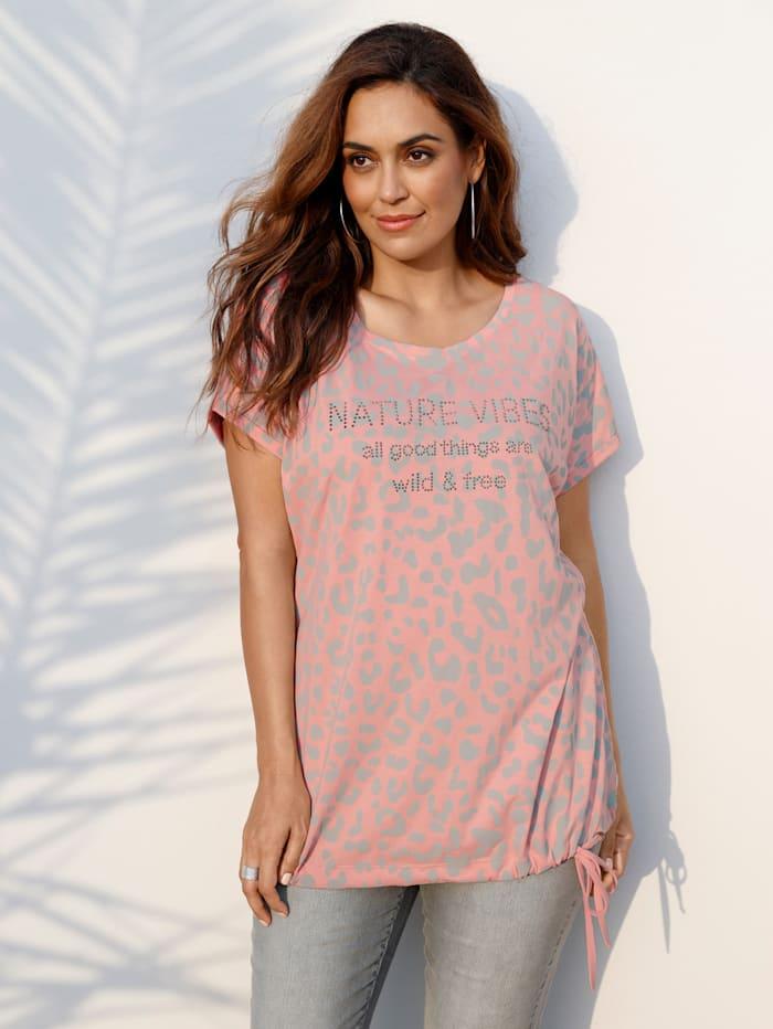 MIAMODA Shirt mit Tunnelzug am Saum, Rosé/Grau