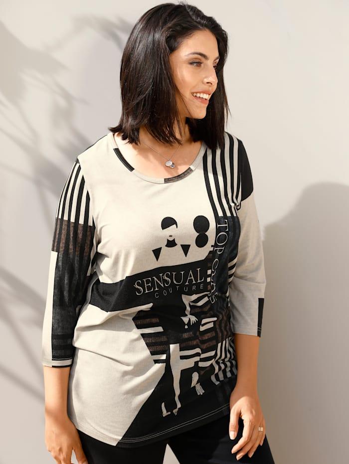 MIAMODA Shirt mit deokrativem Druck, Beige/Schwarz