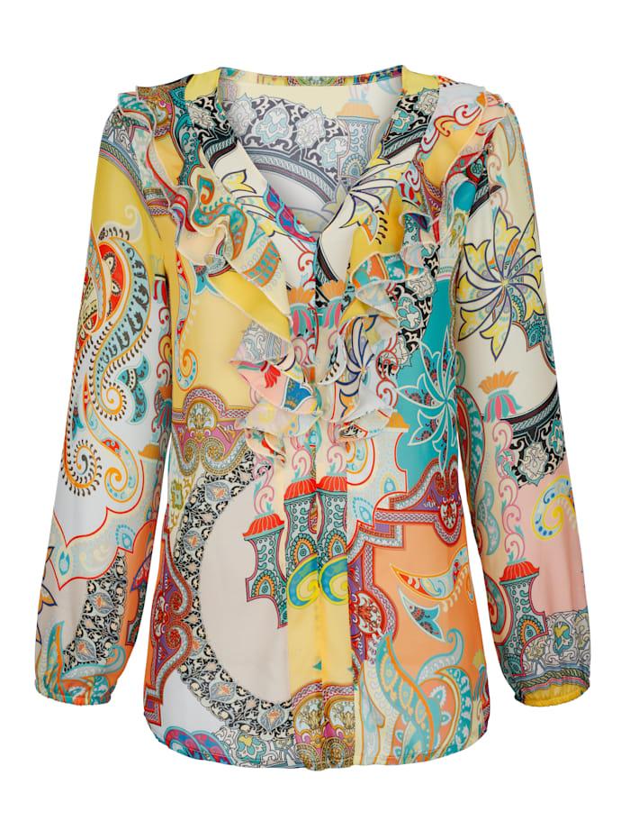 AMY VERMONT Bluse mit farbenfrohen Paisleydruck und Rüschen am Ausschnitt, Multicolor