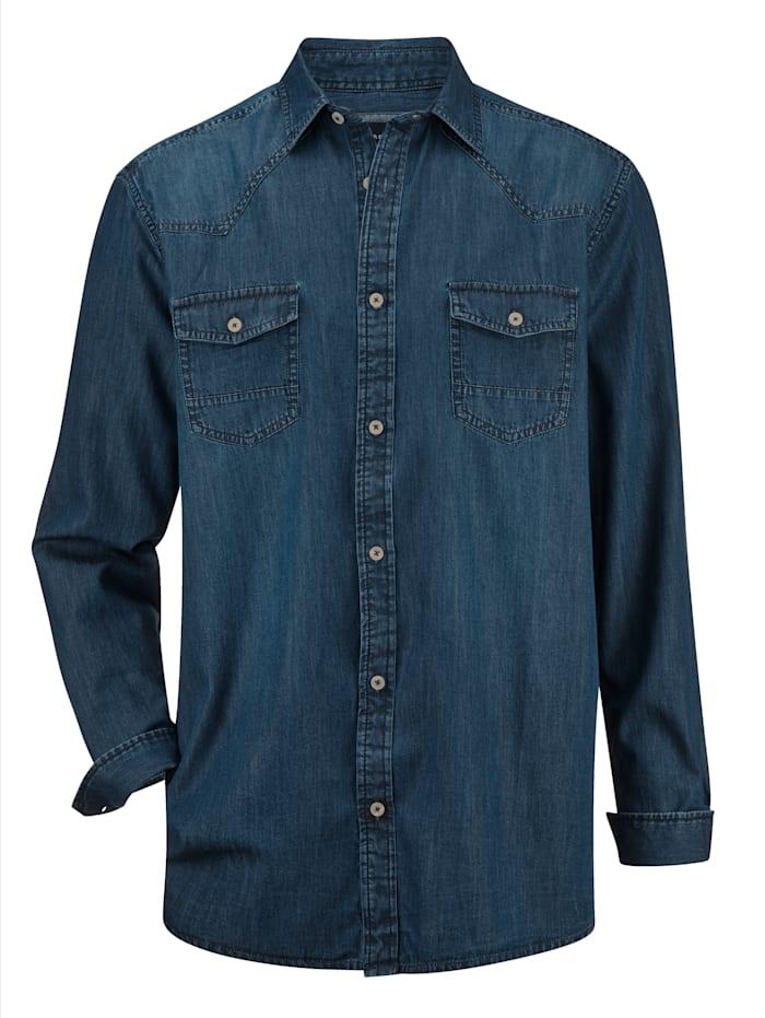 BABISTA Chemise en jean à 2 poches poitrine, Bleu foncé