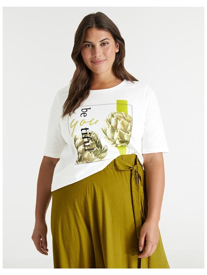 Samoon Halbarmshirt mit Front-Print aus GOTS zertifizierter Bio-Baumwolle, Offwhite gemustert