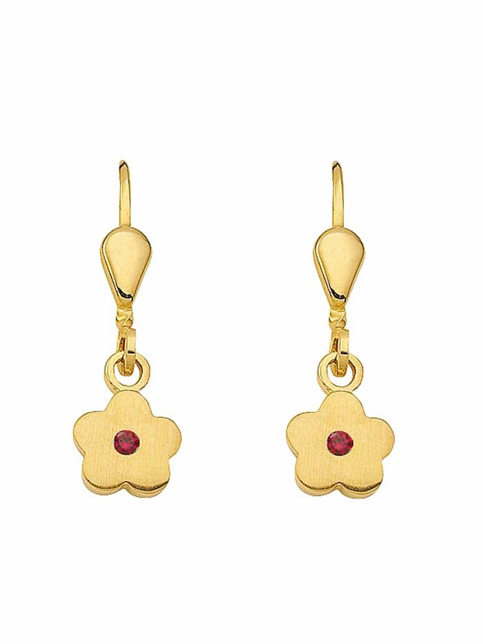 1001 Diamonds 1001 Diamonds Damen Goldschmuck 333 Gold Ohrringe / Ohrhänger Blüte mit synthetischer Rubin, rot