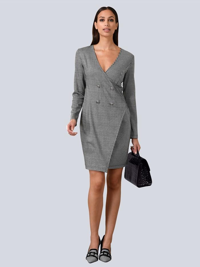Alba Moda Wickelkleid in Wickeloptik aus Jersey, Grau/Weiß