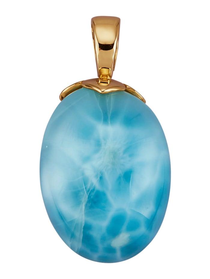 Amara Farbstein Clip-Anhänger in Gelbgold 585, Blau