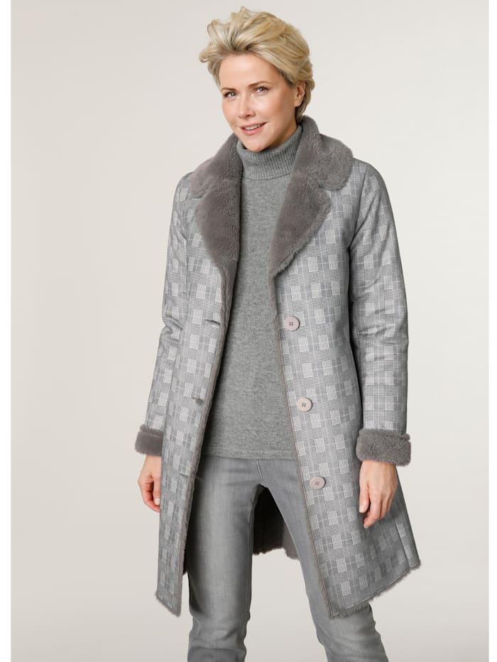 MONA Faux fur coat with a check pattern, Grey