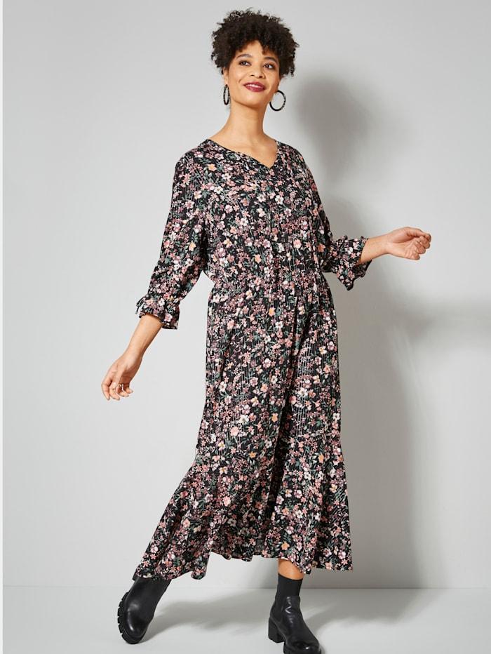 Angel of Style Web-Kleid mit Glitzergarn, Schwarz/Mauve/Oliv