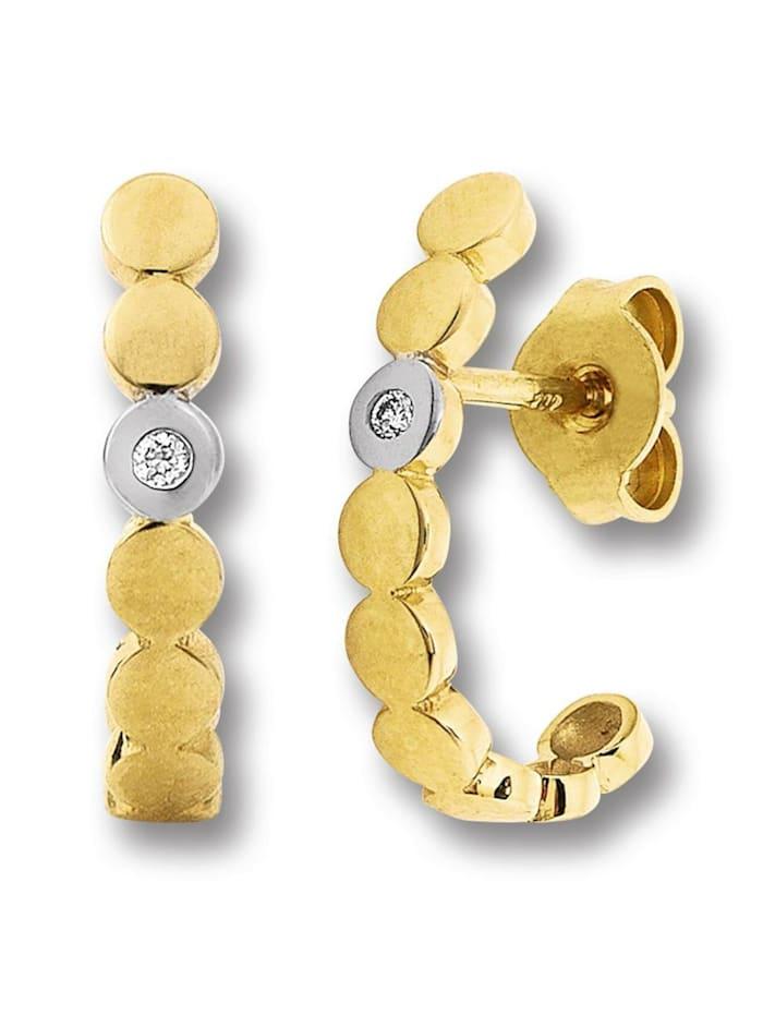 One Element Damen Schmuck Ohrringe / Ohrstecker aus 585 Gelbgold mit 0,02 ct Diamant, gold