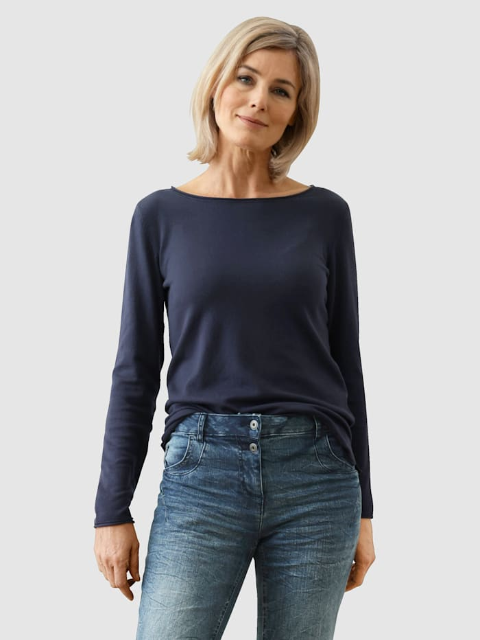 Dress In Pullover Mit Rollsaum, Marineblau