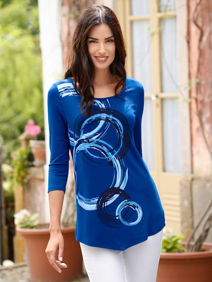 Paola Shirt im modischen Druckdessin, Royalblau