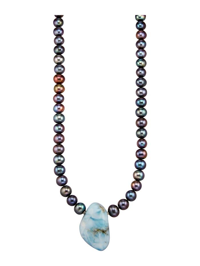 Diemer Farbstein Süßwasserzuchtperlen-Collier mit Larimar, Multicolor