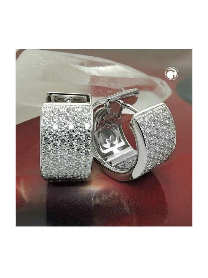 Gallay Schmuckgroßhandel Creole 17x10mm Klappscharnier viele Zirkonias glänzend rhodiniert Silber 925, silber
