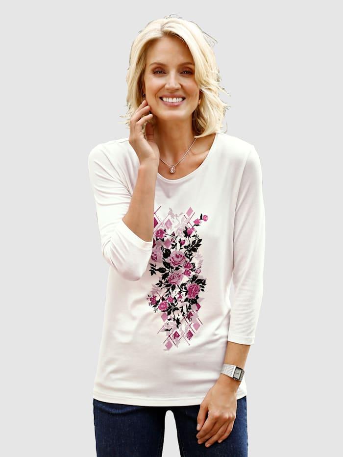 Paola Shirt met strassteentjes, Ecru/Oudroze/Berry