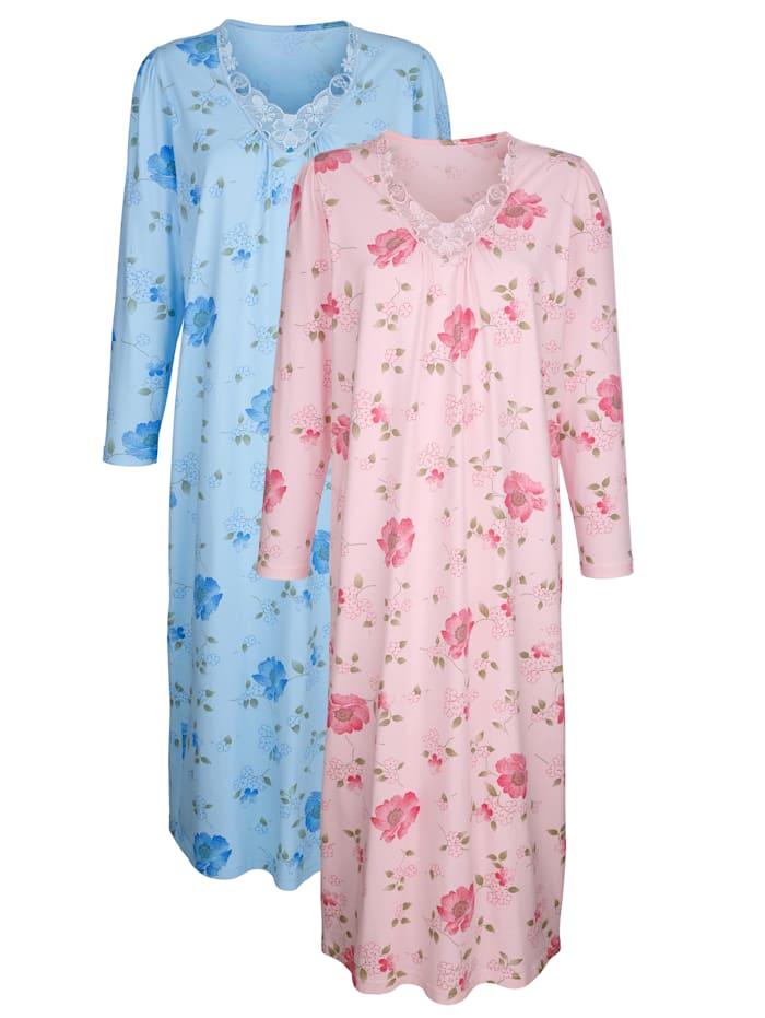 Harmony Nachthemd met bloemenkant, Roze/Blauw