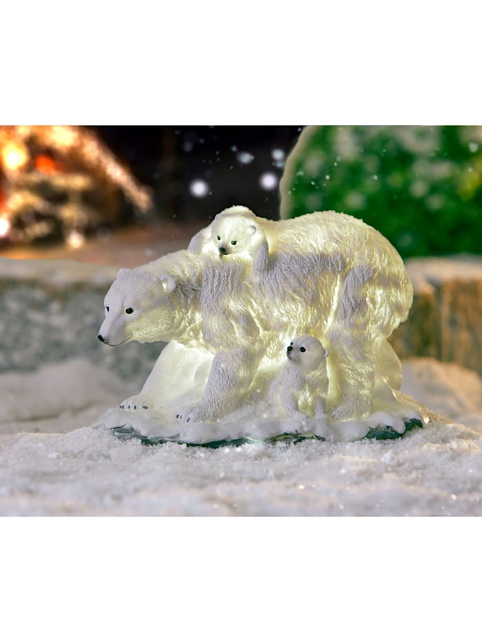 Lampe solaire Famille ours, Blanc