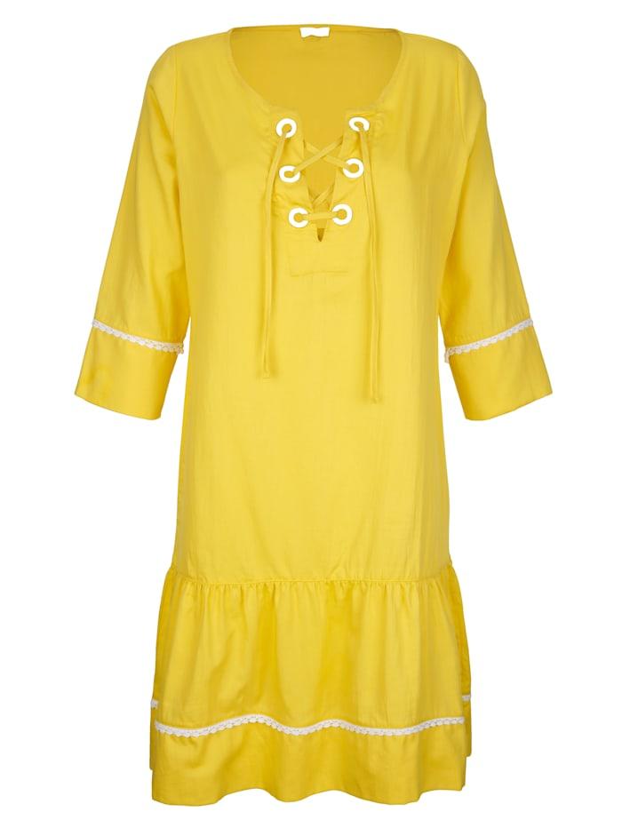 Alba Moda Strandkleid mit Schnürung, Gelb