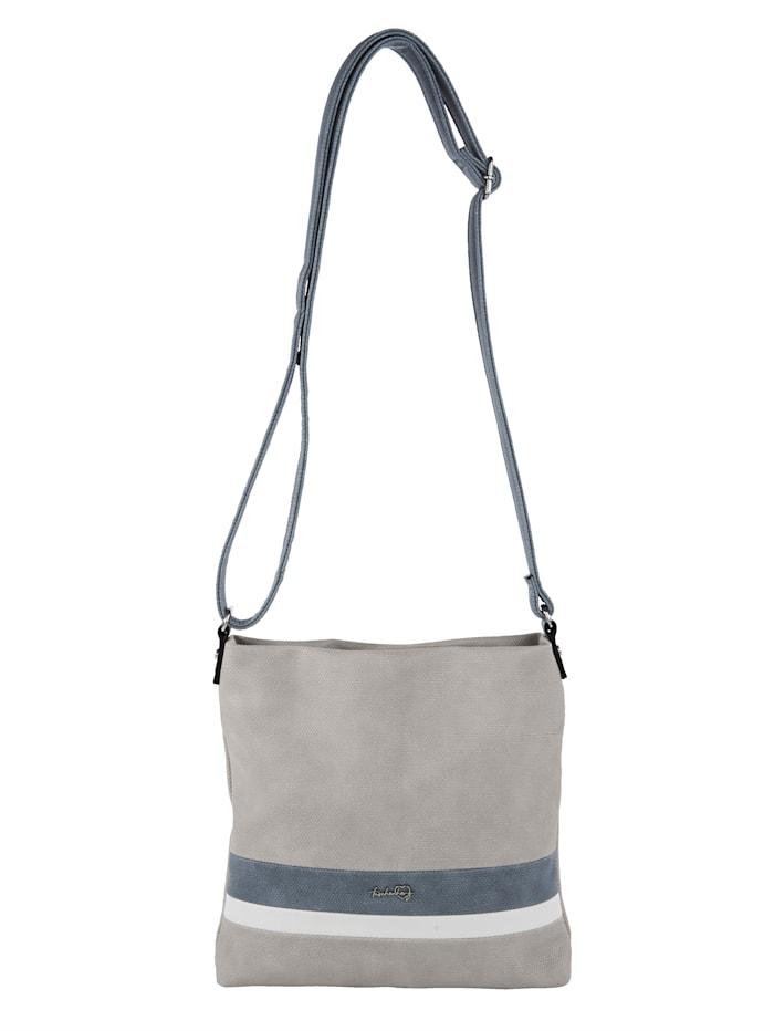 Taschenherz Väska i stilren design med ränder, Ljusgrå/Jeansblå