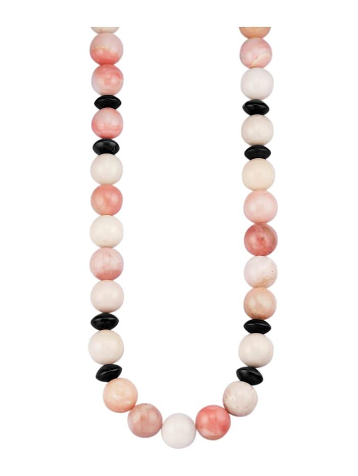 Diemer Farbstein Pinkopal-Kette mit Zwischenteilen aus Onyx, Multicolor