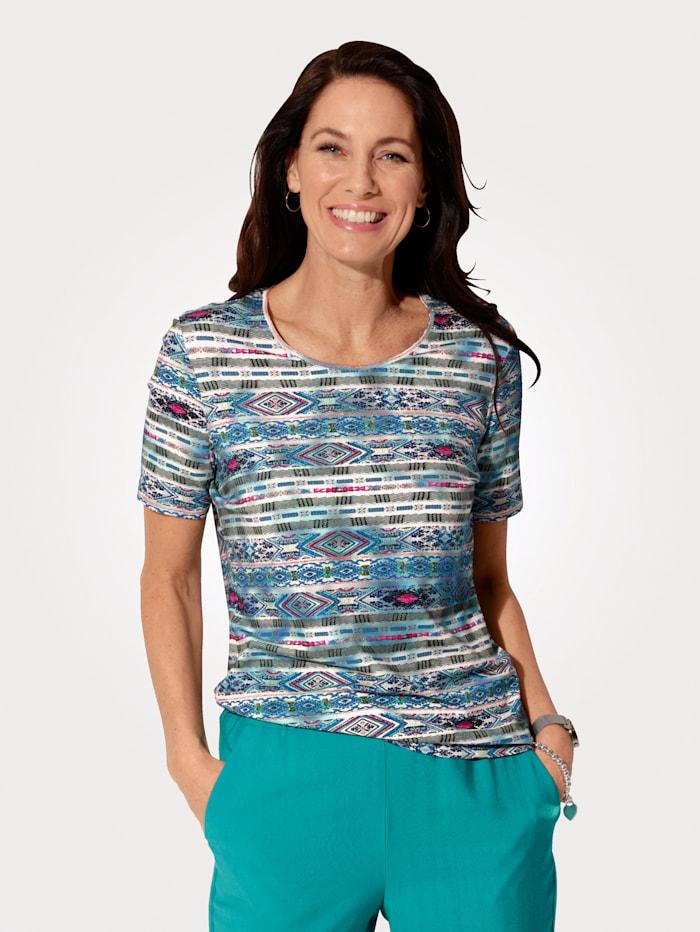 MONA T-shirt à imprimé ethnique, Turquoise/Multicolore