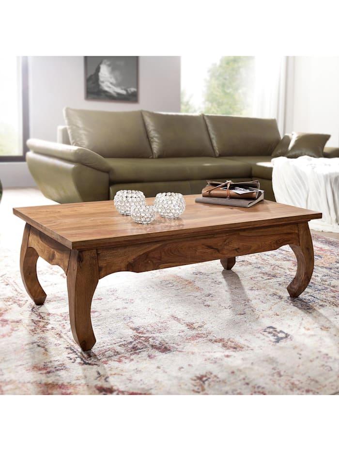 finebuy Couchtisch Massiv-Holz 110 cm breit Wohnzimmer-Tisch Design dunkel-braun Landhaus-Stil Beistelltisch, Dunkelbraun