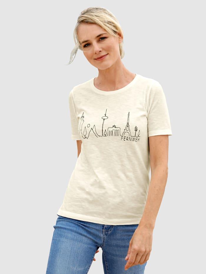 Dress In Shirt mit Frontprint, Wollweiß